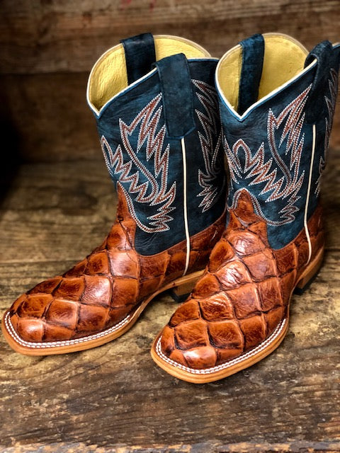 HorsePower Youth Cognac Filet To Fish & Seas the Day Big Bass Print Boots HPK1823 - Painted Cowgirl Western Store