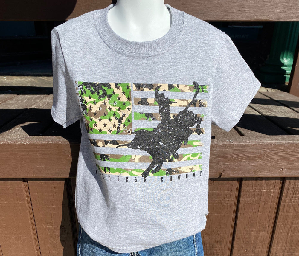 Boy's Camo Flag With Bull Grey Short Sleeve Graphic Tee KDS-5005