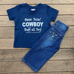 Boy's Been Doin' Cowboy Stuff Navy Short Sleeve Graphic Tee KDS-2180