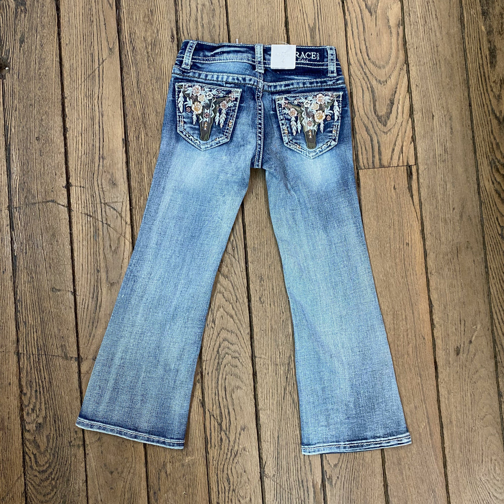 Grace In LA Toddler Girl's Cowhead Floral Back Pocket Bootcut Jean TB-S395