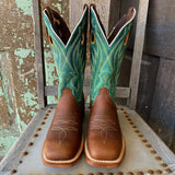 Tin Haul Men's High Roller Tan & Bone Ace Card Square Toe Western Boots 0360