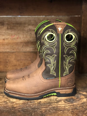 Load image into Gallery viewer, Dan Post Men's Storms Eye Waterproof Brown & Neon Square Toe Work Boots DP56413