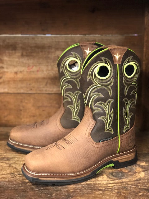Load image into Gallery viewer, Dan Post Men's Storms Eye Waterproof Brown & Neon Square Toe Work Boots DP56413 - Painted Cowgirl Western Store