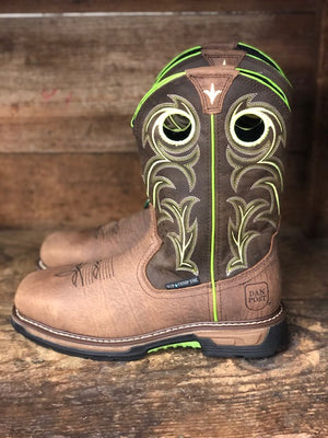 Dan Post Men's Storms Eye Brown & Neon WP Composite Toe Work Boots DP59413 - Painted Cowgirl Western Store