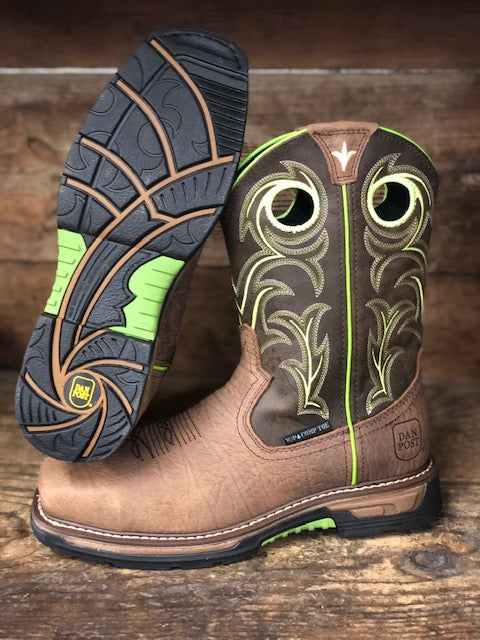 Load image into Gallery viewer, Dan Post Men's Storms Eye Brown & Neon WP Composite Toe Work Boots DP59413 - Painted Cowgirl Western Store