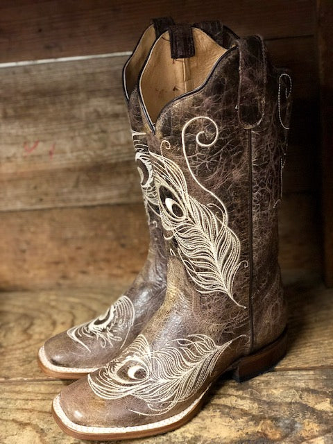 Roper Women's Vintage Brown Peacock Feather Wide Calf Square Toe Boots 8022-1520