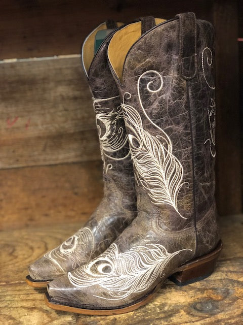 Roper Women's Vintage Brown Peacock Feather Wide Calf Snip Toe Boots 8126-1520 - Painted Cowgirl Western Store