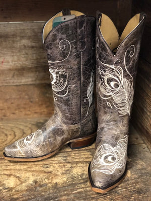 Load image into Gallery viewer, Roper Women's Vintage Brown Peacock Feather Wide Calf Snip Toe Boots 8126-1520 - Painted Cowgirl Western Store