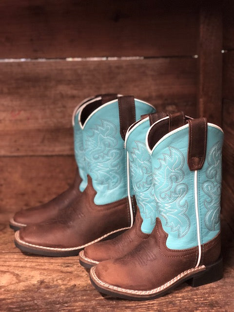 Dan Post Youth Brown & Light Blue Square Toe Western Boots DPC2978 DPC3978