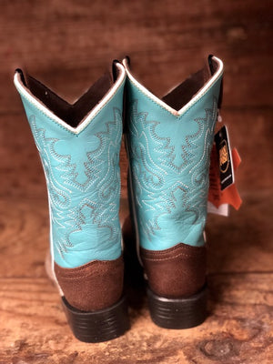 Dan Post Youth Brown & Light Blue Square Toe Western Boots DPC2978 DPC3978 - Painted Cowgirl Western Store