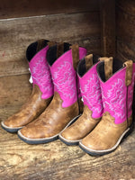 Dan Post Youth Tan & Bright Pink Square Toe Western Boots DPC2979 DPC3979