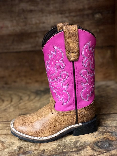 Dan Post Youth Tan & Bright Pink Square Toe Western Boots DPC2979 DPC3979 - Painted Cowgirl Western Store