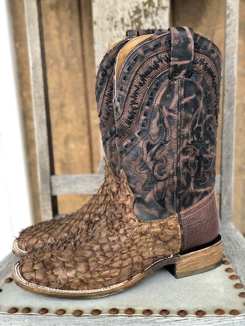 Corral Men's Rodeo Collection Brown Gnarly Fish Square Toe Western Boots A3827