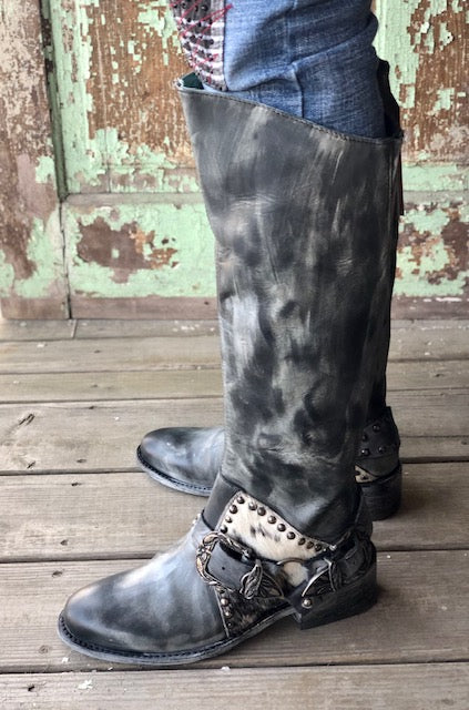 Corral Women's Black Stud & Cowhide Harness Tall Boots Z0095 - Painted Cowgirl Western Store