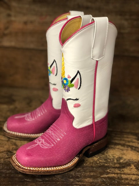 Macie Bean Youth White & Pink Unicorn Embroidered Square Toe Boots MK9205