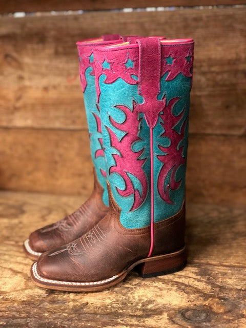Anderson Bean Youth Macie Bean Pink & Turquoise Star Square Toe Western Boots MK9096