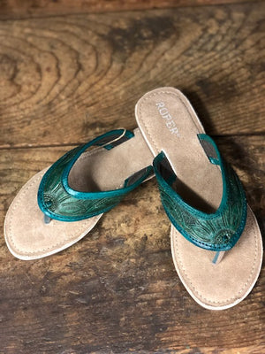Roper Women's Emerald Green Tooled Leather Sandals 1271