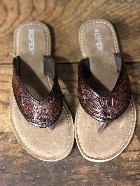 Roper Women's Brown Tooled Leather Sandals 1268