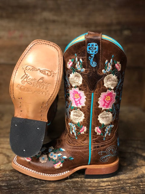 Macie Bean Youth Honey Bunch Floral Embroidered Square Toe Western Boots MK9012 - Painted Cowgirl Western Store