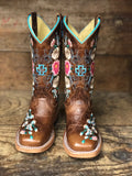 Macie Bean Youth Honey Bunch Floral Embroidered Square Toe Western Boots MK9012
