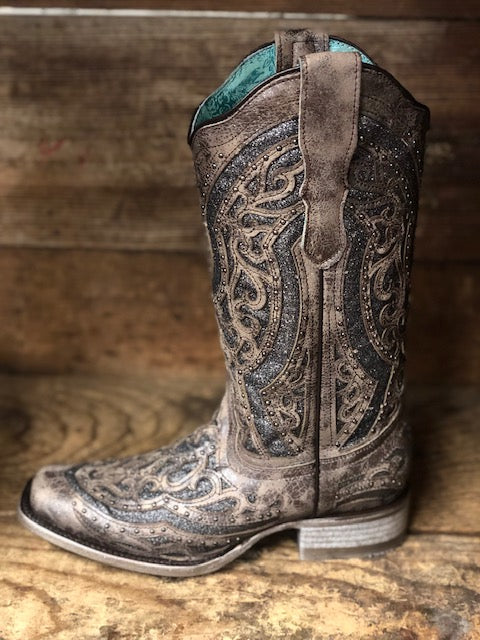 Corral Women's Brown & Silver Studded Inlay Square Toe Western Boots E1512