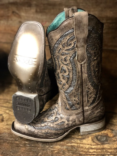 Corral Women's Brown & Silver Studded Inlay Square Toe Western Boots E1512 - Painted Cowgirl Western Store