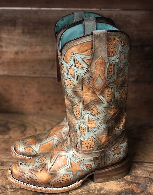 Corral Women's Tan & Light Turquoise Star Overlay Square Toe Western Boots C3519 - Painted Cowgirl Western Store