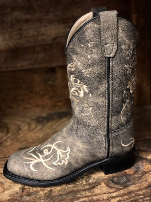 Old West Youth Distressed Grey Floral Embroidered Square Toe Boots BSC1825 - Painted Cowgirl Western Store