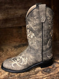Old West Youth Distressed Grey Floral Embroidered Square Toe Boots BSC1825