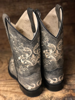 Load image into Gallery viewer, Old West Youth Distressed Grey Floral Embroidered Square Toe Boots BSC1825 - Painted Cowgirl Western Store