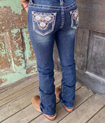 Grace in LA Junior Low Rise Aztec Pocket Bootcut Jeans JB-S343 - Painted Cowgirl Western Store