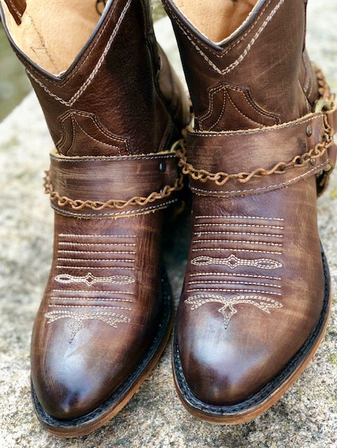 Roper Women's Vintage Brown Harness & Chain Ankle Boots 1417 - Painted Cowgirl Western Store