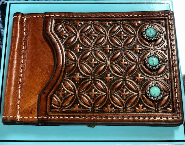 Nocona Dark Tan Embossed Turquoise Stone Money Clip Wallet N500000208 - Painted Cowgirl Western Store