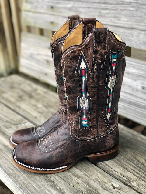 Roper Women\u0027s Waxy Brown Arrow Wide Calf Square Toe Western