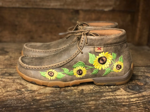 Twistex X Women's Sunflower Bomber Chukka Driving Mocs WDM0128 - Painted Cowgirl Western Store