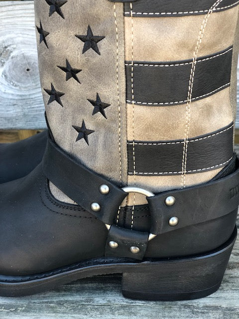 Load image into Gallery viewer, Durango Men's Black Tan & Grey Flag Harness Boots DDB0141