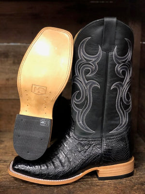 HorsePower Men's Black Caiman Square Toe Western Boots HP8002 - Painted Cowgirl Western Store
