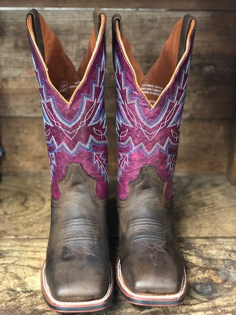 Dan Post Women's Fuschia Pasadena & Brown Square Toe Western Boots DP4570 - Painted Cowgirl Western Store