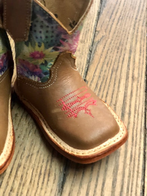 Roper Infant Cowbabies Prickly Tan & Cactus Square Toe Boots 1380 - Painted Cowgirl Western Store