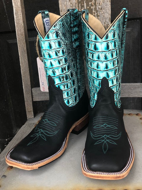 Anderson Bean Women's Black & Sea Turquoise Croc Print Square Toe Boots 324773 - Painted Cowgirl Western Store