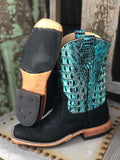 Anderson Bean Women's Black & Sea Turquoise Croc Print Square Toe Boots 324773