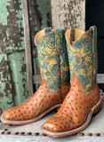 Anderson Bean Women's Cognac Mad Dog & Teal Havanna Square Toe Boots 321804