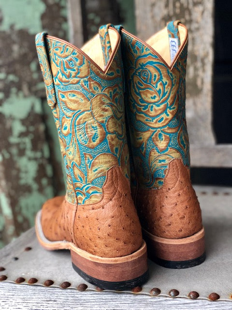Anderson Bean Women's Cognac Mad Dog & Teal Havanna Ostrich Square Toe Boots 321804 - Painted Cowgirl Western Store