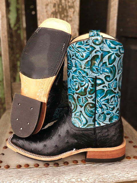 Anderson Bean Women's Black & Dark Teal Foam Ostrich Square Toe Boots 321803 - Painted Cowgirl Western Store