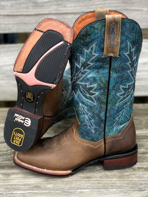 Dan Post Women's Brown & Blue Pasadena Square Toe Western Boots DP4571 - Painted Cowgirl Western Store