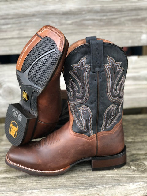 Load image into Gallery viewer, Dan Post Men's Winslow Brown & Dark Blue Square Toe Western Boots DP4556 - Painted Cowgirl Western Store