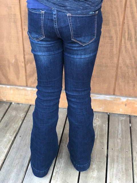 Load image into Gallery viewer, Grace in LA Girls Dark Wash Trouser Jeans GL-9326 - Painted Cowgirl Western Store