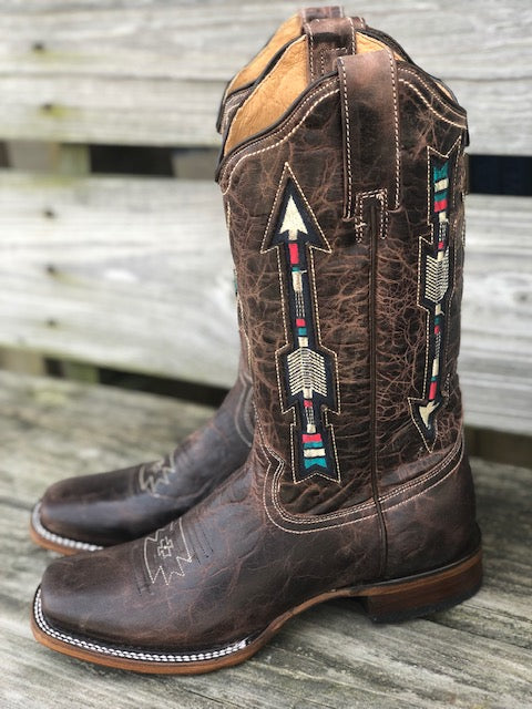 Load image into Gallery viewer, Roper Women's Waxy Brown Arrow Square Toe Western Boots 09-021-7022-1426
