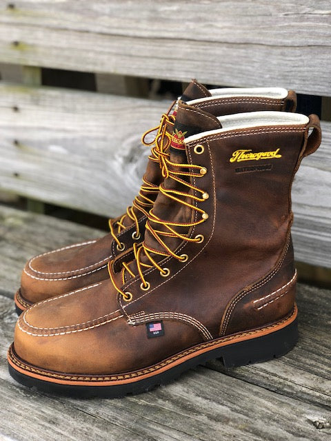 "Thorogood Men's 1957 Series Crazy Horse 8"" Waterproof Steel Toe Work Boots 804-3898"
