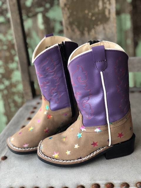 Old West Children's Sand & Purple Star Square Toe Western Boots BSI1801